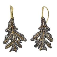 Adria de Haume Fancy Diamond Gold Leaf Earrings