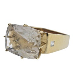 H. Stern Sunrise Rutilated Quartz Diamond Gold Ring