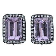 Adria de Haume 24 Carats  Kunzite Diamond Gold Earrings