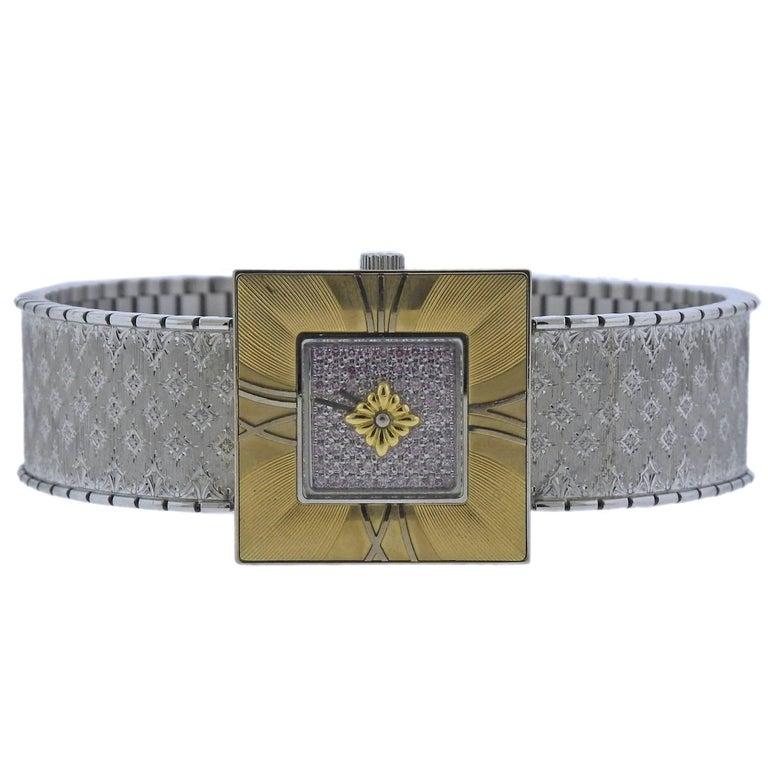 Buccellati Ladies Yellow and White Gold Diamond Agalmachron Bracelet Wristwatch