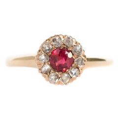 Garnet and Diamond Yellow Gold Engagement Ring