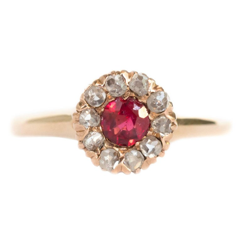 garnet and yellow gold engagement ring for sale at