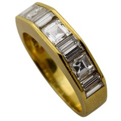 Diamond Gold Geometric Semi Eternity Band