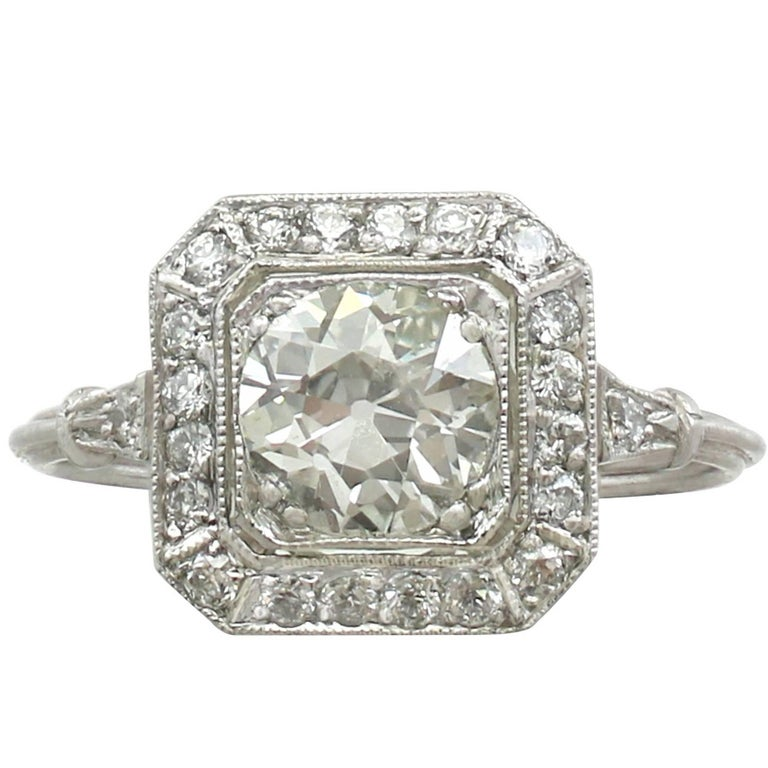 Antique 1920s and Contemporary 1.37 Carat Diamond and Platinum Dress Ring