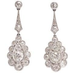 Edwardian 2 Carat Diamond Drop Platinum Earrings