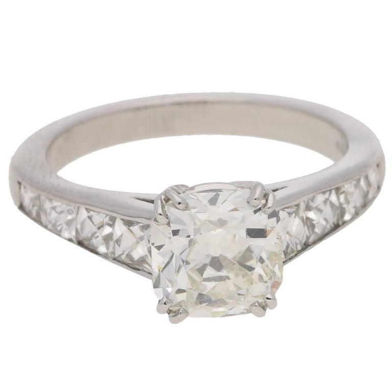 Old Mine Cut Diamond Platinum Engagement Ring