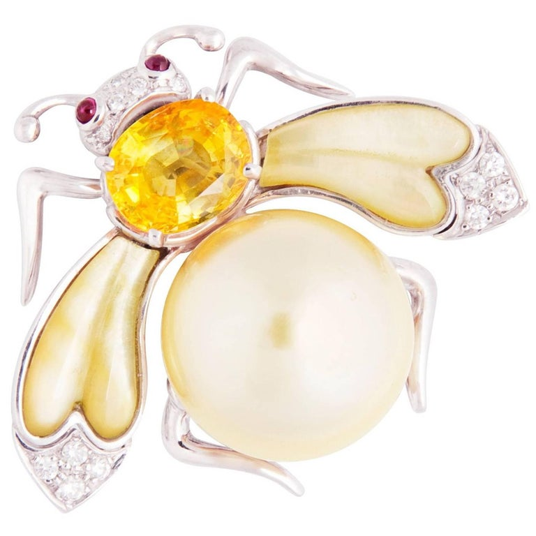 Ella Gafter Golden Pearl Yellow Sapphire Diamonds Ruby Gold Bee Brooch Pin