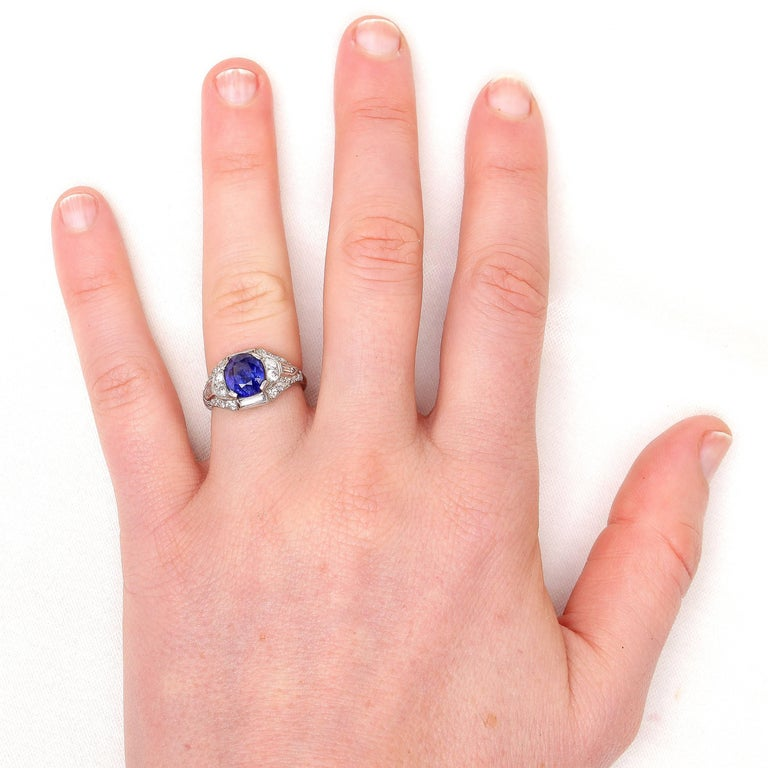 Art Deco Sapphire Diamond Platinum Engagement Ring For Sale 1