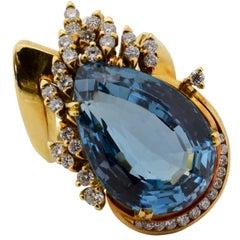 Retro Era Blue Topaz Diamond Gold Cocktail Ring