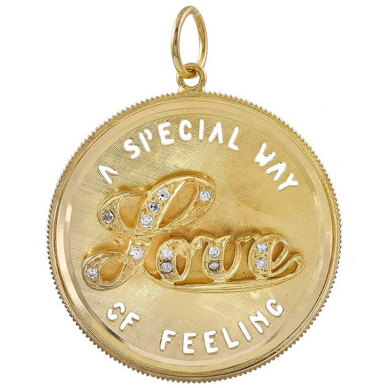 Gold and Diamond Love Charm For Sale