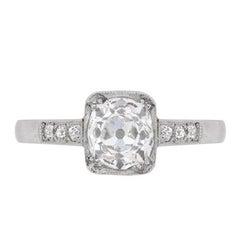 Art Deco Cushion Cut Diamond Solitaire Ring, circa 1920s