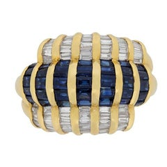 Vintage Sapphires and Diamonds Cocktail Ring, circa 1950s