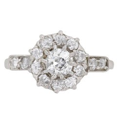 Early Art Deco Diamond Halo Cluster Ring, circa 1920s
