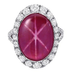 GIA Certified 9.91 Carat Unheated Star Ruby Diamond Platinum Cocktail Ring
