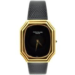 Patek Philippe Yellow Gold Vintage Onyx Dial Manual Wristwatch Ref 3729