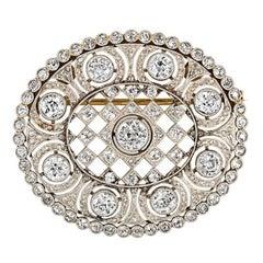 4.74 Carat Platinum Art Deco Brooch