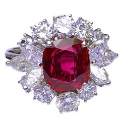 GIA Certified 2.23 Carat No Heat Cushion Cut Siam Red Ruby Ballerina Ring