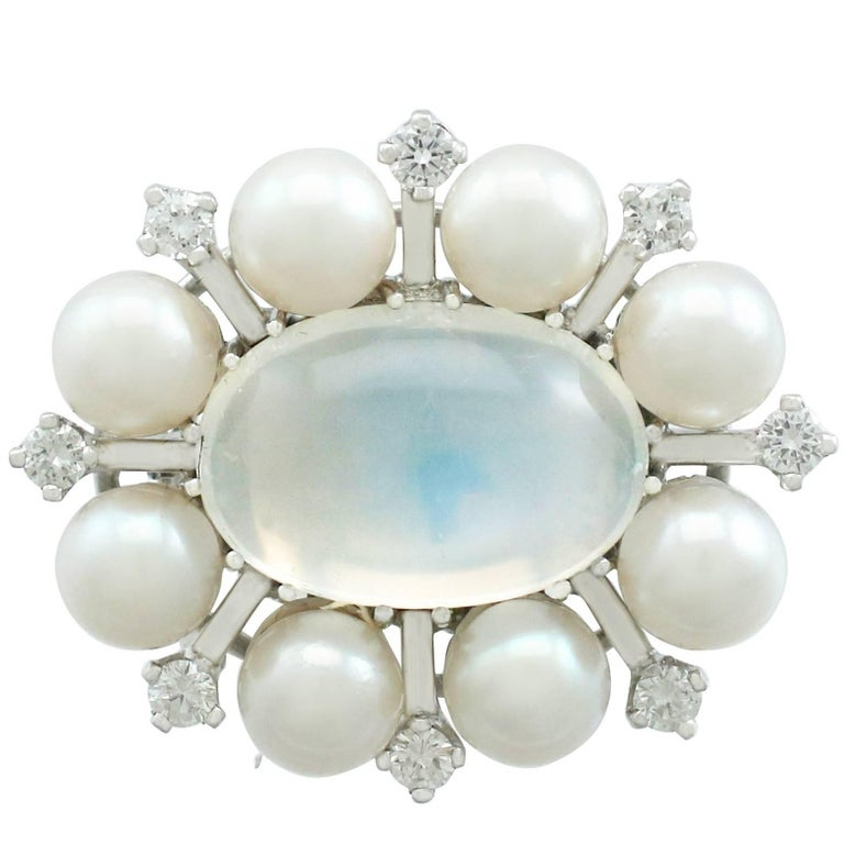1970s 4.13 Carat Moonstone and Diamond Cultured Pearl and White Gold Clasp