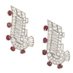 Pair of Art Deco Diamond and Ruby Scroll Design Dress Clips