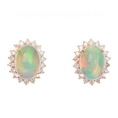 18 Carat Rose Gold 0.80 Carat Opal and Diamond Cluster Earrings