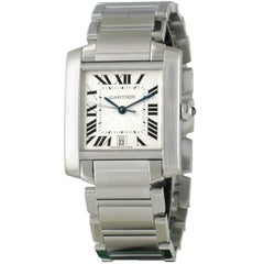 Cartier, Tank Française Stainless Steel Large Automatic Wristwatch
