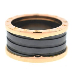 Bvlgari B.Zero1 18 Karat Rose Gold Black Ceramic Ladies Ring