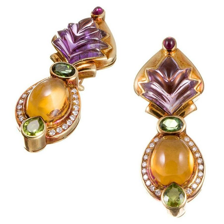 Cabochon Gemstone Diamond Gold Earrings