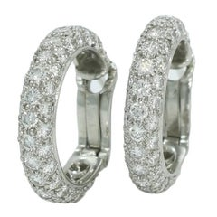 Tiffany & Co. 3.50 Carat Diamond Hoop Earrings in Platinum