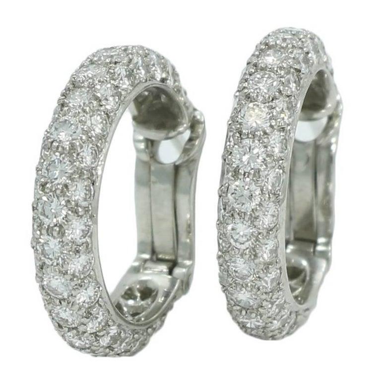 Tiffany & Co. 3.50 Carat Diamond Hoop Earrings in Platinum