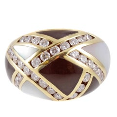 Asch Grossbardt Yellow Gold Diamond Mother-of-Pearl and Onyx Ring