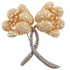 14.80 Carat Colored Diamond Flower Brooch