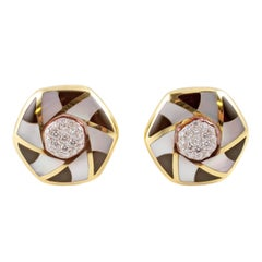 """Asch Grossbardt"" Yellow Gold Diamond Mother of Pearl & Onyx Earrings"