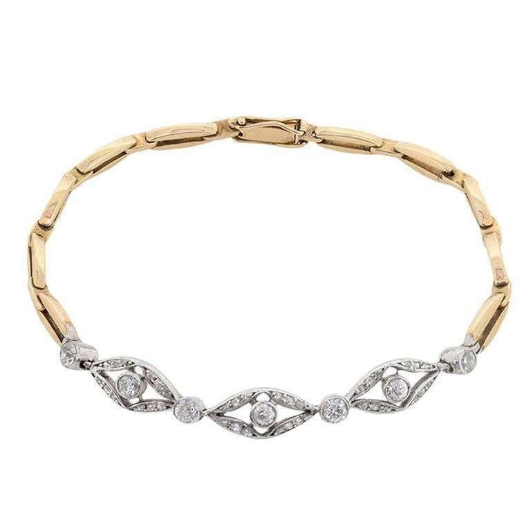 Early Art Deco Platinum and Gold Diamond Bracelet, circa 1920s