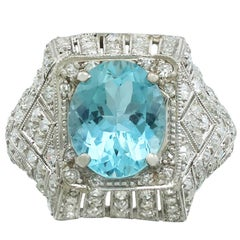 1930s Aquamarine and  Diamond Platinum Dress Ring