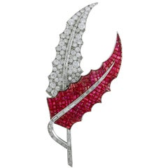 Two-Tone Diamond and Ruby Two-Leaf Brooch