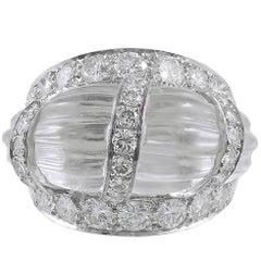 DAVID WEBB Rock Crystal Fluted Bombe Ring