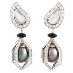 Ella Gafter Black Tahitian Pearl and Diamond Drop Earrings