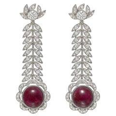 Antique Ruby Diamond Foliate Drop Earrings