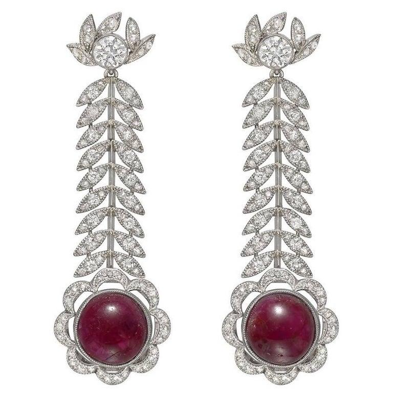Antique Ruby Diamond Foliate Drop Earrings For
