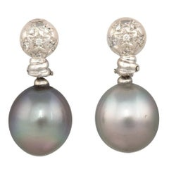 Ella Gafter Black Tahitian Pearl and Diamond White Gold Drop Earrings