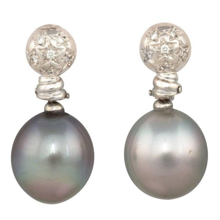 Ella Gafter Black Tahitian Pearl and Diamond White Gold Drop Earrings