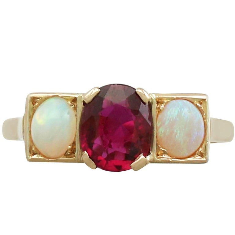 Vintage French 1.86 Carat Ruby and Opal 18 Karat Yellow Gold Dress Ring