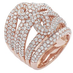 4.78 Carat 18 Karat Rose Gold Micro Pave Ring