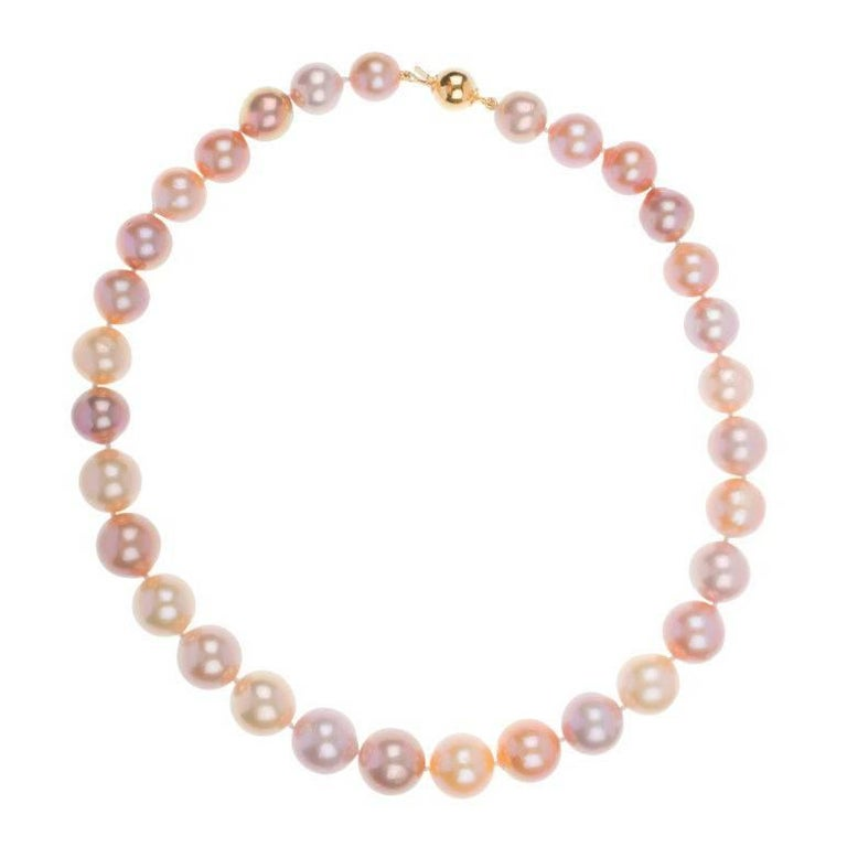 Natural Pink Edison Pearl Strand with 9 Carat Gold Clasp