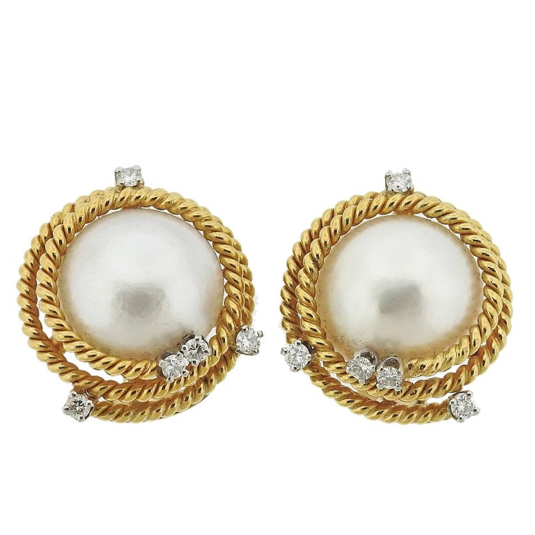 Tiffany & Co. Schlumberger Pearl Diamond Rope Gold Earrings