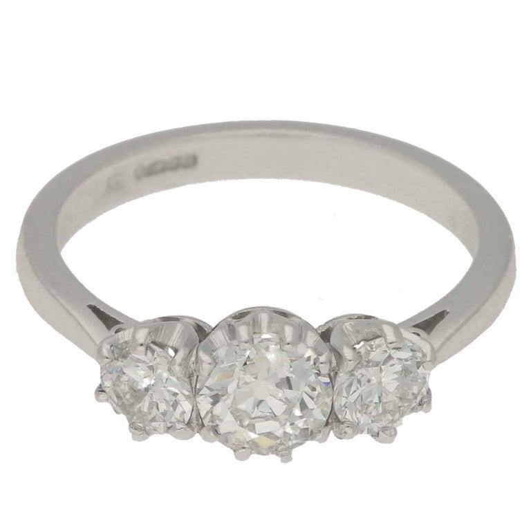 Old European Cut Diamond Three-Stone Engagement Ring