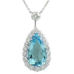 Vintage 1990s 9.15  Carat Aquamarine and 2.59 Carat Diamond White Gold Pendant