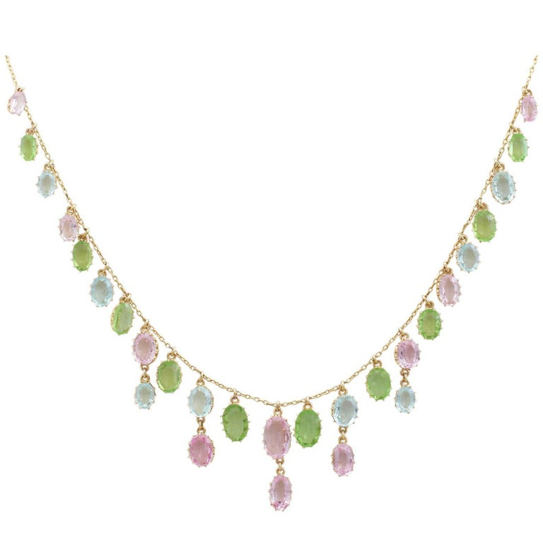 1900s 25.87 Ct Rose Quartz Peridot, Aquamarine and 18k Yellow Gold Necklace