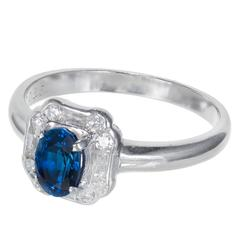 Ceylon .80 Carat Oval Sapphire Round Diamond Platinum Engagement Ring