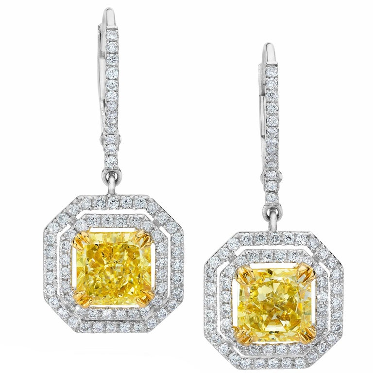 Gia Certified Fancy Yellow Diamond Double Halo Dangle Earrings